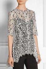 LELA ROSE intricate lace guipure tunic top blouse - black / white 12 L
