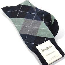 Neiman Marcus Men's Argyle Dress Socks Merino Wool Blend Blue Made in Italy