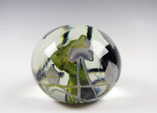 Charles Lotton Magnum size Art Glass Paperweight Sculpture Heart shape Leaves
