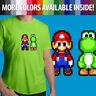 8-Bit Pixel Super Mario Bros Yoshi Retro Nintendo Unisex Mens Tee Crew T-Shirt