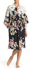 NWT NATORI Gardenia Floral Print Satin Wrap Robe, M, MSRP $160