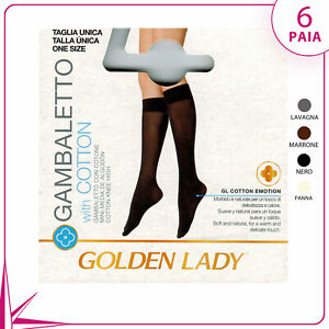 6 Pairs Knee Highs Women's Golden lady Trend Cotton
