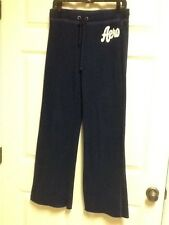 WOMENS JUNIORS ATHLETIC 2 PIECE PANTS SZ S & HOODIE SZ M BLUE SWEATS AEROPOSTALE