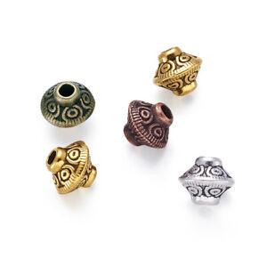 320pcs/200g Tibetan Alloy Bicone Metal Beads Nickel Free Loose Spacers 6.5x7.5mm