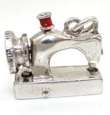 Sterling Silver Heavy Articulated Sewing Machine Red Enamel Charm