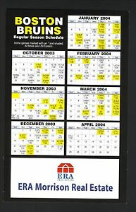 Boston Bruins--2003-04 Postcard Schedule--ERA Morrison Real Estate