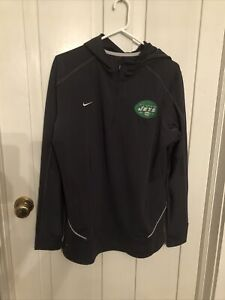 Nike Dri Fit New York Jets Quarter Zip Polyester Gray Hoodie Embroidered Large