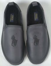 POLO Ralph Lauren Black Leather Big Pony Slippers Rubber Sole NWT