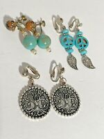 3 Pair Vintage clip on/screw back Earrings  boho hippie dangle lot peace tree