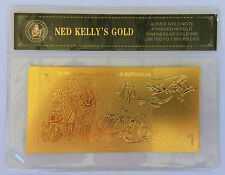 NED KELLY'S GOLD $1.00 OLD NOTE 24K 999 GOLD FOIL BANK NOTE C.O.A. PACK