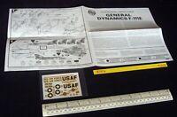 *1960s/70s Vintage Airfix Instructions & Decals (No Kit) General Dynamics F-111E