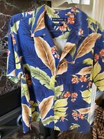 Silk Floral Blue Short Sleeve Tiki Hawaiian Shirt - Large Mens L Flowers Aloha