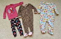 Baby Girl 9 Month Pajamas Good Condition Lot Of 3 Carter's And More