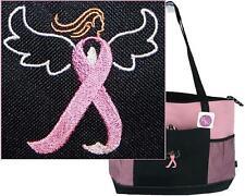 Pink Breast Cancer Awareness Ribbon Angel Monogram Bag Gemline Zipper Tote Gift