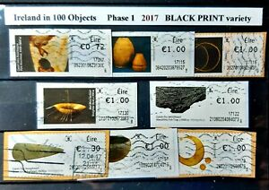 Ireland in 100 Objects Phase 1   (8), Used, Year 2017 , BLACK Print Variety