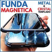 FUNDA MAGNETICA METALICA NEGRA CRISTAL TEMPLADO PARA XIAOMI REDMI NOTE 8 PRO