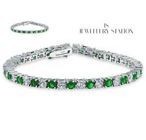 white gold finish round cut created diamond and emerald bracelet womens