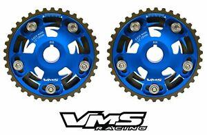 VMS HONDA ACURA B SERIES ENGINES ADJUSTABLE BILLET CAM GEARS PAIR QTY 2 BLUE