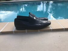 GUCCI BLACK LEATHER LOGO DETAIL LOAFERS CASUAL SHOES Sz 9M MADE IN ITALY