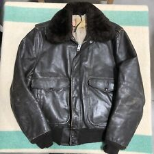 Vtg 70s SCHOTT Leather Flight Jacket Talon Fur Collar SHERPA Bomber USA 40