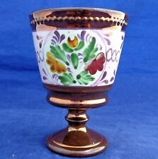Antique Victorian Copper Lustre Goblet Wine Cup Hand Painted Floral Sprays 1850