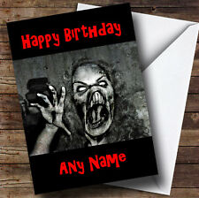 Scary Horrible Lady Monster Horror Personalised Birthday Greetings Card