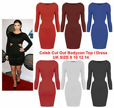 New Ladies Cut Out Bodycon Mini Dress Womens Club Wear Party Stretch Long Top