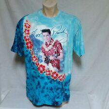 VTG Elvis Presley Liquid Blue Tie Dye Tee Tour Band Concert Hawaii Rock Roll XL