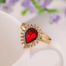 Ring Size 8 B105 18K Gold Red Zirconia Band