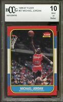 1986-87 Fleer #57 Michael Jordan Rookie Card BGS BCCG Beckett 10 MINT+ Authentic