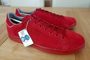 Geox Respira Warrens Suede Mens Lo Top Lace Up Breathable Trainers - Red