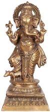 "Master Large Ganesha Statue Standing Rat Jai God 26.3""Brass Hindu Figure 17.4 KG"