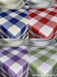 GINGHAM Check Bi-Stretch Polyester TABLE CLOTH - Various Colours