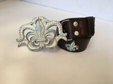 Marc Ecko Cut and Sew Genuine Brown Leather Belt Fleur De Lis Buckle 36 / 90 EUC