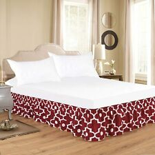 Wrap Around Bed Skirt, Morocco Pearl Printed Elastic Bed Ruffles,
