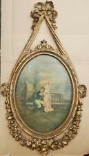Vintage Oil(?) Painting on Board, a Lady and a Gentlemen. Beautifully Framed!