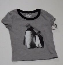 Tokyo Darling X Large Grahpic Tee Grey Penguin Black and White Crop Top