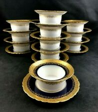 🟢 Set of 11 Theodore Haviland Limoges Cobalt & Gold Encrusted Ramekin & Saucers