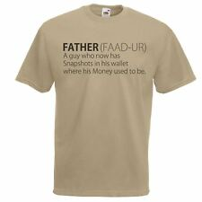 Mens Khaki Father Defined T-Shirt Fathers Day Gift Idea Funny Money Dads TShirt
