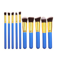 10pcs Blue & Gold Kabuki Style Foundation Blusher Face Powder Make up Brush Set