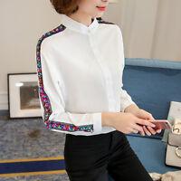 Elegant Women Long Sleeve Casual Blouse Career OL Chiffon Button Down Shirts New