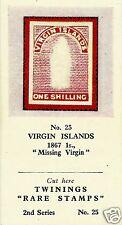 TWININGS TEA CARD, SERIES: RARE STAMPS, VIRGIN ISLANDS, 1867, 1S, MISSING VIRGIN