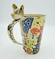 Handmade 3D Cali Cat Coffee Tea Mug Figural Clay Pottery Cute