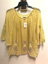 ANTHROPOLOGIE LEIFNOTES LIME GREEN BOHO FLOWER EMBROIDERED FLARE TOP 8 BNWT