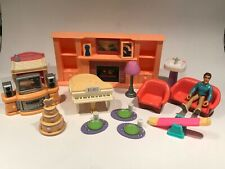 Vintage Keenway Dollhouse Furniture & more  Fireplace, Doll, Couch, Cake, TV etc