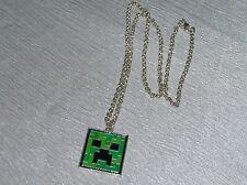Gently Used Silvertone Rolo Link Chain w Green Enamel Minecraft Creeper Pendant