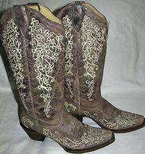 New Corral Brown Crater Bone Embroidery Leather Cowboy Boots Womens Size 8