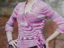 "Knitting Pattern Girls Womens Wrap Over Cardigan 32-42"" DK Vintage"