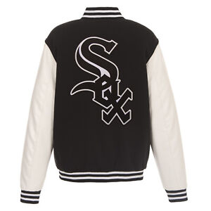 MLB Chicago White Sox Reversible Fleece Jacket PVC Sleeves Embroidered  Logos JH