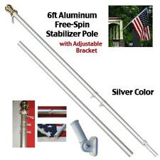 "Wall Mount Brush Aluminum Spinner Flagpole Decor 6 Feet 1"" Diameter Pole Bracket"